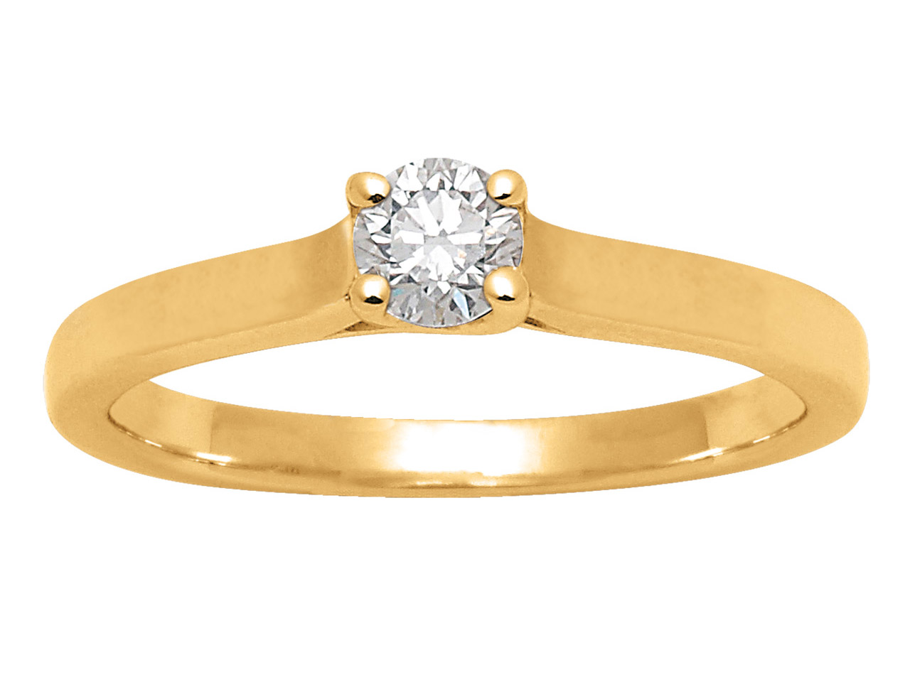 Solitaire diamants 0,25ct, Or jaune 18k, doigt 52