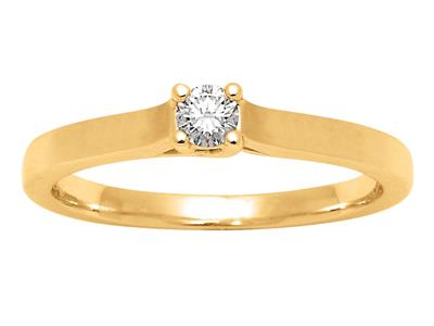 Solitaire 0,10ct, Or jaune 18k, doigt 52