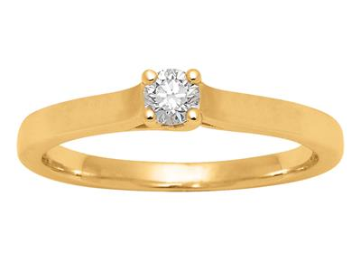Solitaire 0,15ct, Or jaune 18k, doigt 52