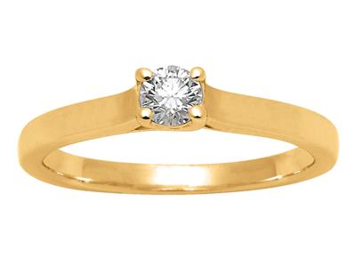 Solitaire 0,20ct, Or jaune 18k, doigt 54