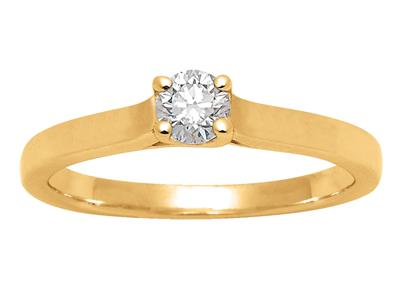 Solitaire diamant 0,25ct, Or jaune 18k, doigt 52