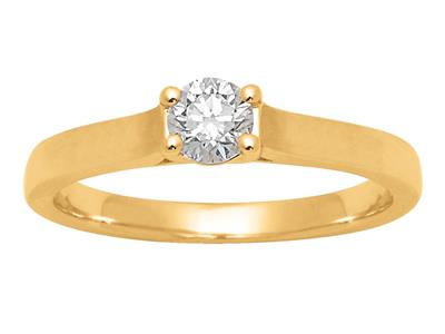 Solitaire 0,30ct, Or jaune 18k, doigt 52