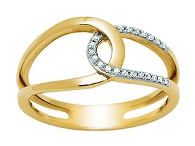 Bague Or jaune 18k entrelace ajoure diamants 009ct doigt 52