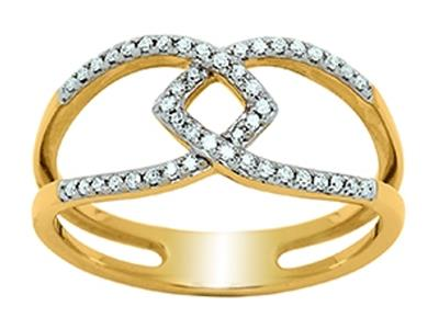 Bague Or jaune 18k entrelace ajoure diamants 019ct doigt 52
