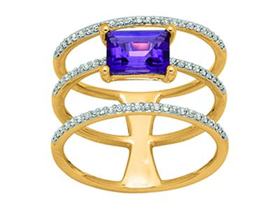 Bague Or jaune 18k 3 rangs diamants 020ct et Amthyste 097ct doigt 56