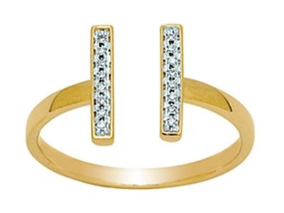 Bague double barrette ouverte, diamants 0,06ct, Or jaune 18k, doigt 56