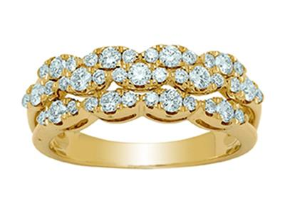 Bague Or jaune 18k 3 rangs forme navette diamants 066ct doigt 56