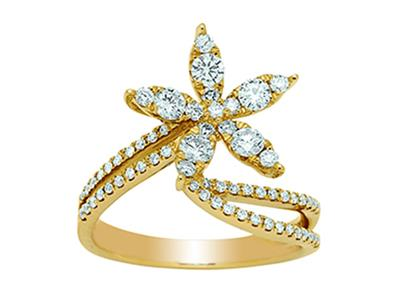 Bague Or jaune 18k Etoile diamants 067ct doigt 54