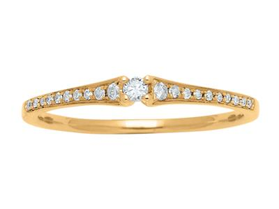 Bague Or jaune 18k Solitaire diamants 011ct doigt 52