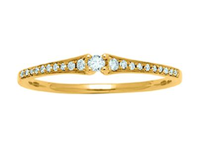 Bague Solitaire, Or jaune 18k, diamants 0,11ct, doigt 56