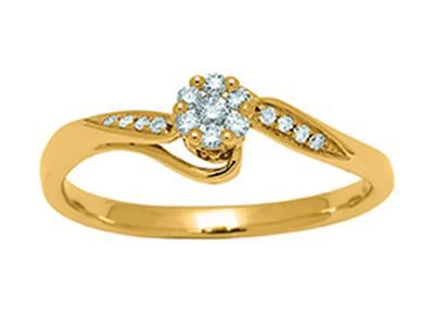 Bague Or jaune 18k Solitaire serti illusion diamants 011ct doigt 56