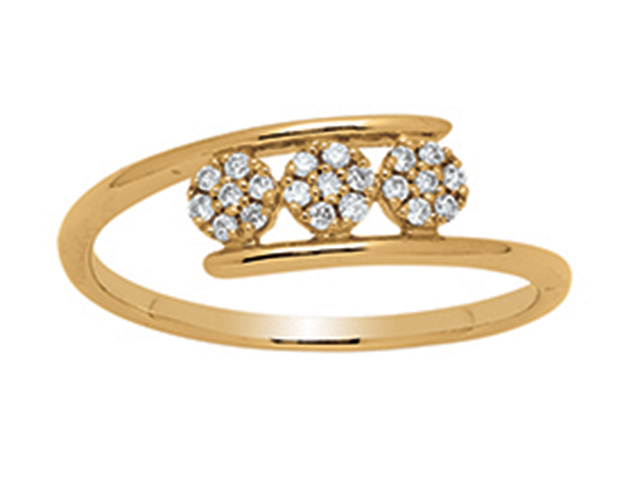Bague Trilogie Solitaire serti illusion, Or jaune 18k, diamants 0,09ct, doigt 56