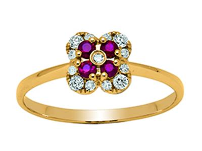 Bague Fleur Or jaune 18k diamants 013ct rubis 016ct doigt 54