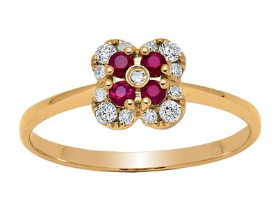 Bague Fleur Or jaune 18k diamants 013ct rubis 016ct doigt 56