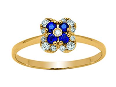 Bague Fleur Or jaune 18k diamants 013ct saphirs 016ct doigt 52