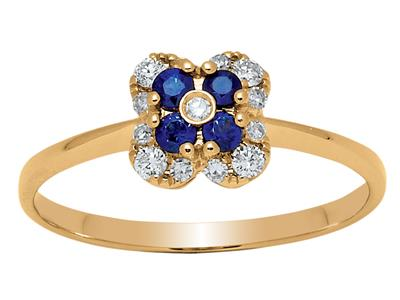 Bague Fleur Or jaune 18k diamants 013ct saphirs 016ct doigt 56