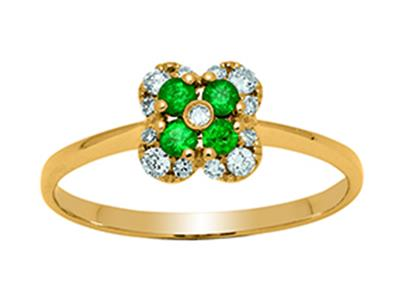 Bague Fleur Or jaune 18k diamants 013ct meraudes 016ct doigt 52