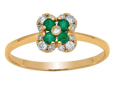 Bague Fleur Or jaune 18k diamants 013ct meraudes 016ct doigt 56