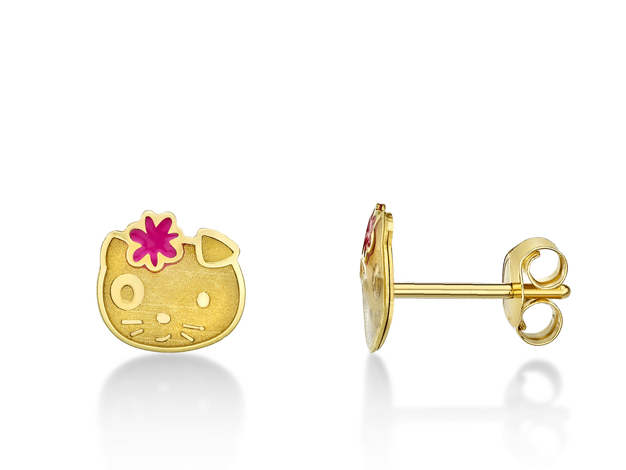 Boucles d'oreilles Hello Kitty 6,5 x 6,8 mm, Or jaune 18k