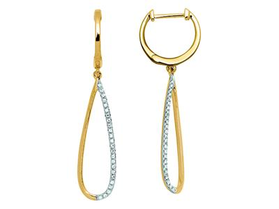 Boucles doreilles Gouttes pendantes, diamants 0,13ct, Or jaune 18k