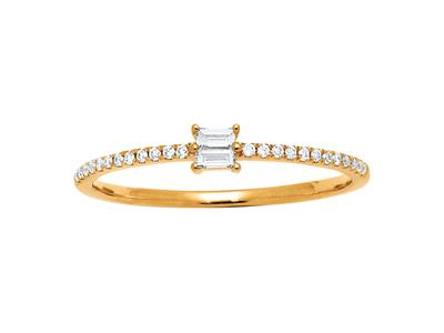 Bague Solitaire, diamants Baguettes et ronds 0,15ct, Or jaune 18k, doigt 52