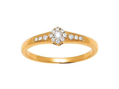 Bague solitaire accompagné illusion, Or Jaune 18k, diamants 0,12ct, doigt 52