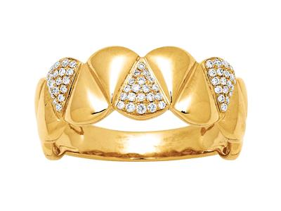 Bague large, motif Triangles diamants 0,19ct, Or jaune 18k, doigt 52
