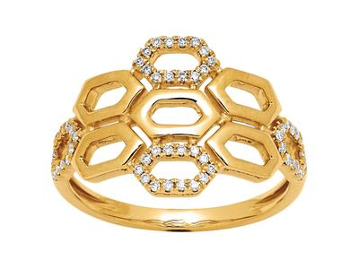 Bague Nid dabeille diamants 0,17ct, Or jaune 18k, doigt 52