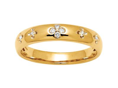 Alliance motif Fleurs diamants 0,08ct, Or jaune 18k, doigt 56