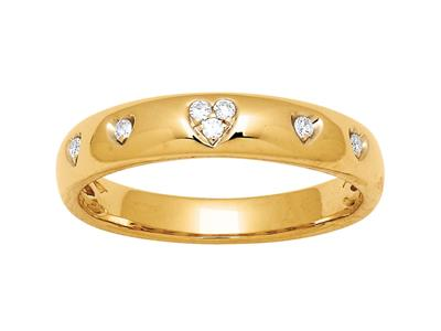 Alliance motif Coeurs diamants 0,07ct, Or jaune 18k, doigt 52