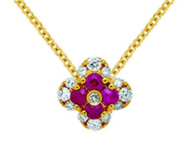 Pendentif Fleur Or jaune 18k diamants 013ct rubis 016ct