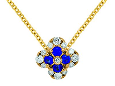 Pendentif Fleur Or jaune 18k diamants 013ct saphirs 016ct