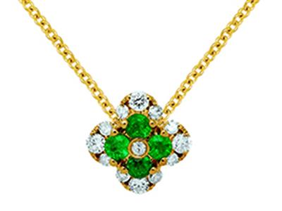 Pendentif Fleur Or jaune 18k diamants 013ct meraudes 016ct