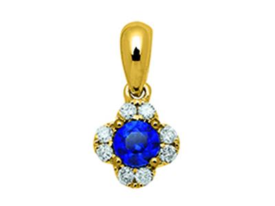Pendentif Fleur Or jaune 18k diamants 010ct saphirs 025ct