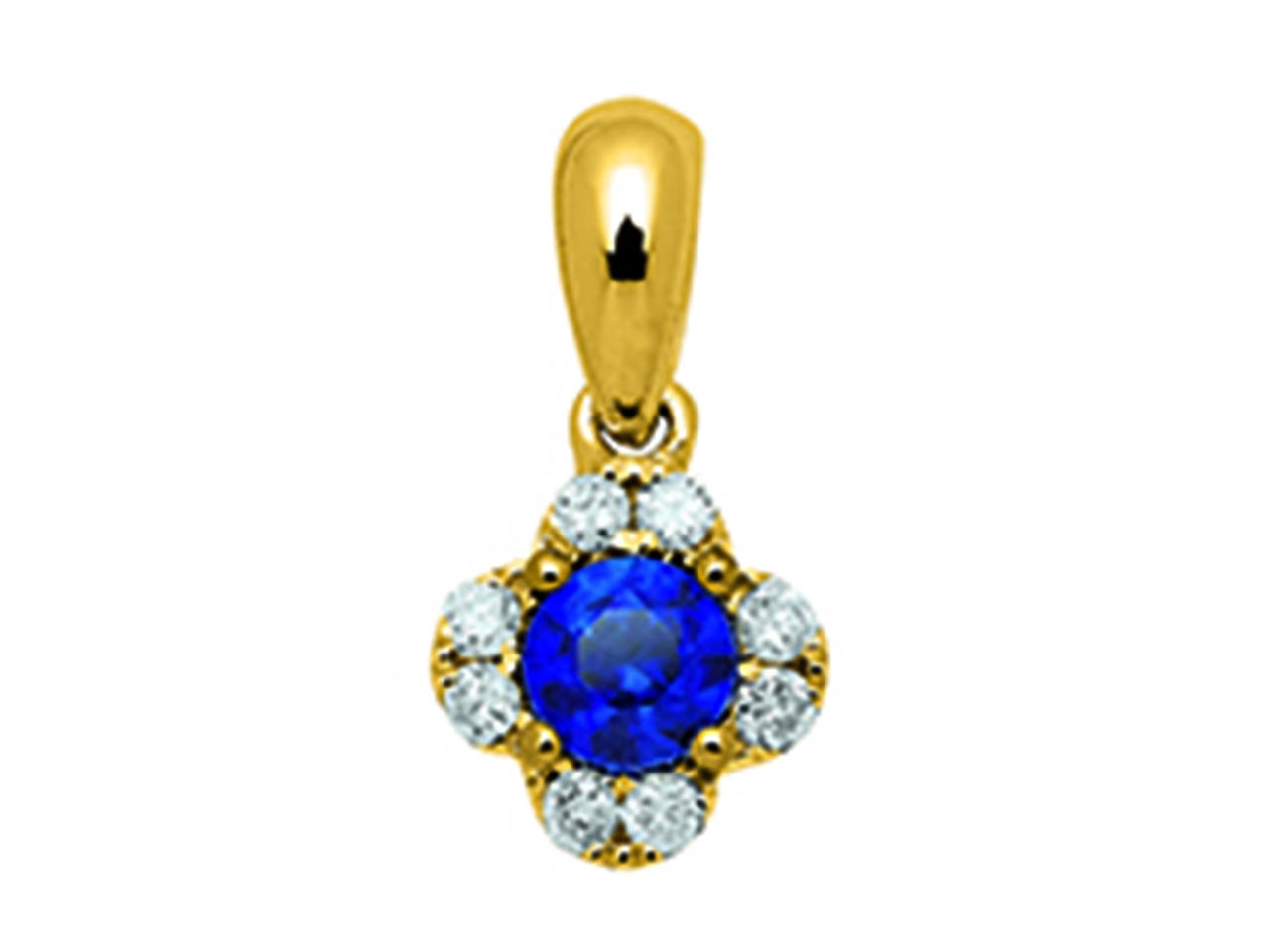 Pendentif Fleur Or jaune 18k, diamants 0,10ct, saphirs 0,25ct