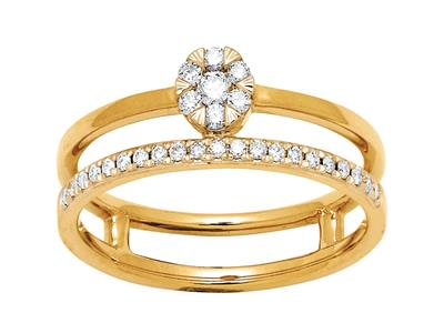 Bague solitaire et alliance, diamants 0,20ct, Or jaune 18k, doigt 54