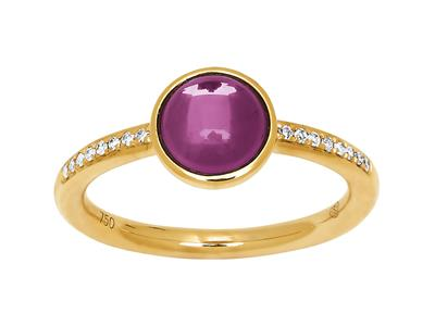 Bague diamants 0,06ct et améthyste cabochon 1,20ct, Or jaune 18k, doigt 54