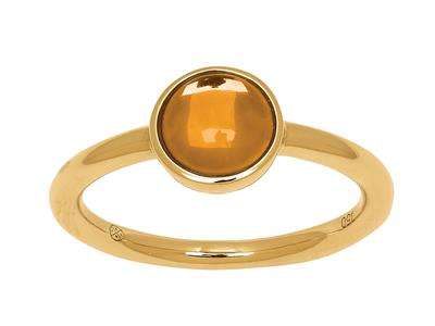 Bague citrine cabochon 1,10ct, Or jaune 18k, doigt 56