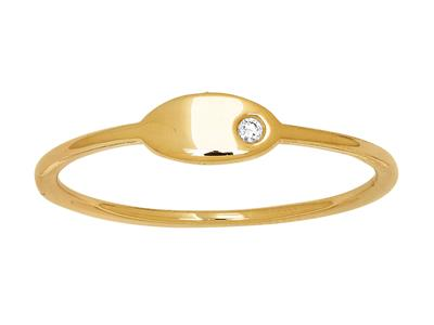 Bague plaque ovale diamant 0,01ct, Or jaune 18k, doigt 50