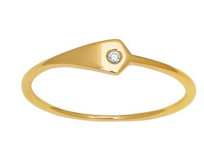 Bague plaque triangulaire diamant 0,01ct, Or jaune 18k, doigt 48