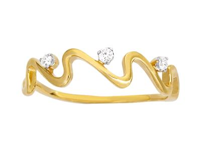 Bague Vagues 5 diamants, total 0,04ct, Or jaune 18k, doigt 50