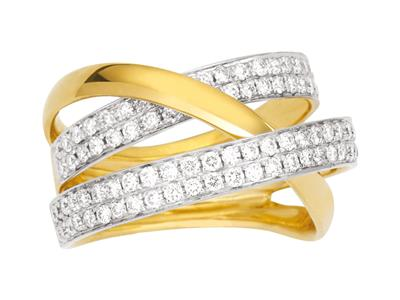 Bague croisée diamants 0,90ct, Or jaune 18k, doigt 56