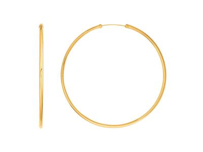 Croles lisses 56 mm fil rond 2 mm Or Jaune 18k
