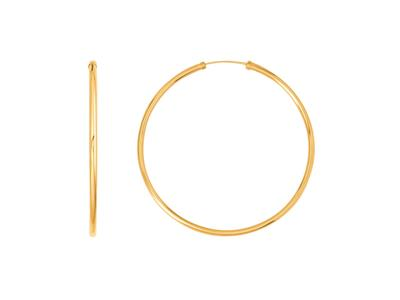 Croles lisses 46 mm fil rond 2 mm Or Jaune 18k