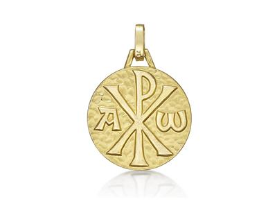 Médaille Chrisme 18 mm, Or jaune 18k
