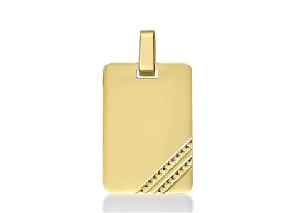 Pendentif Plaque rectangle 21 mm, Or jaune 18k