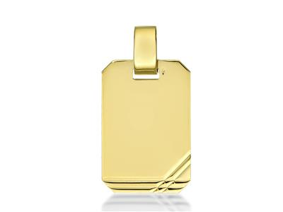 Pendentif plaque rectangle 20 mm Or jaune 18k