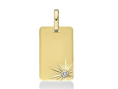 Pendentif plaque rectangle diamant 1100ème, 15 mm, Or jaune 18k
