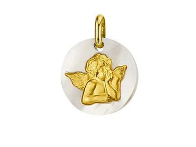 Médaille-nacre-Ange-14-mm,-Or-Jaune-18k