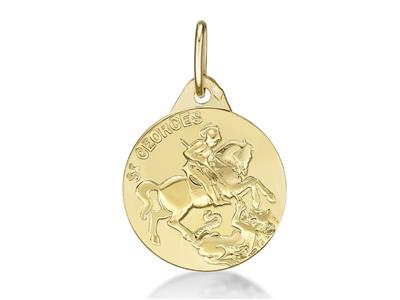 Médaille St Georges 15 mm, Or jaune 18k